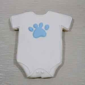 white onesie with light royal paw print