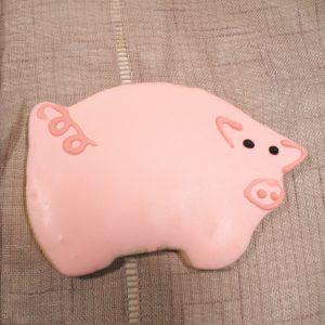 light coral pig cookie favor